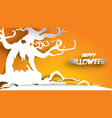 halloween background with haunted tree in paper vector image vector image