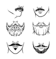 Hand drawn beards outline hipster mustache vector image vector image