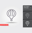 hot air balloon line icon with editable stroke vector image