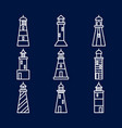lighthouse icons set in thin line style vector image