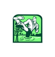 Martial Arts Fighter Kicking Cypress Tree Retro vector image vector image