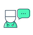 medical doctor with speech bubble vector image vector image