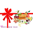 New Year Gift Card with Health and Nutrition Fruit vector image vector image