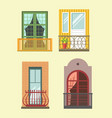 nice tall broad windows in european style vector image vector image