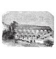 pont du gard an aqueduct and bridge vintage vector image vector image