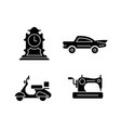 retro collectables black glyph icons set on white vector image