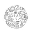 round design element with education icons vector image