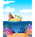 Scene with island and coral underwater vector image vector image