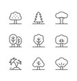 set line icons tree vector image