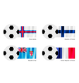 Soccer Ball with Faroe Islands Finland Fiji Flag vector image