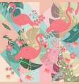 tropical flamingo in summer flower and leave frame vector image vector image