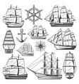 vintage big ships collection vector image