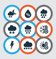 weather icons set with winter thunderstorm cold vector image vector image