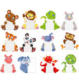 wild animals cartoon holding blank sign vector image vector image
