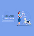 woman with robotic dog updating interface animal vector image vector image
