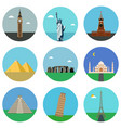 world landmarks flat icons set vector image vector image