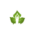 Yoga logo on green leaf vector image
