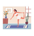 young modern woman doing workout at home calm vector image vector image