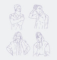 collection of realistic drawings of young men vector image