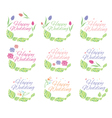 set of floral label for wedding vector image