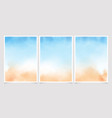 abstract loose blue and sand beach watercolor vector image vector image