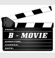 b movie clapperboard vector image vector image