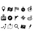 black map icons set vector image