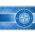 Blue background with compass rose vector image vector image