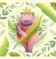 boho style hippopotamus lady on jungle background vector image vector image