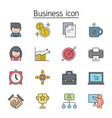 business administration icon set filled outline vector image
