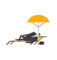 businessman at deckchair boss is summer vacation vector image
