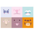 Cartoon cute animals characters faces collection
