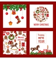 Christmas set Xmas theme in boarded squares with vector image