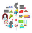 city road network icons set cartoon style vector image vector image