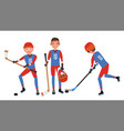 classic ice hockey player set competition vector image vector image