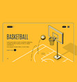 commercial basketball court landing page vector image vector image