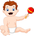 Cute Baby boy with musical toy vector image vector image