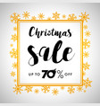 elegant merry christmas gold lettering sale vector image