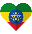 Ethiopia flat heart flag vector image vector image