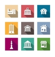 Flat buildings icons set vector image vector image