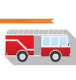 Flat design city Transportation fire truck side vector image vector image