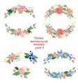Floral watercolor wreaths frames bouquets vector image