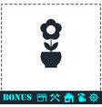 flower pot icon flat vector image vector image