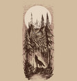 graphic howling wolf with big owl in forest vector image