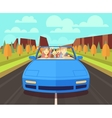 Happy family traveling in car vector image vector image