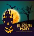 happy halloween with pumpkin haunted house vector image vector image