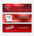 happy valentines day horizontal banners with vector image vector image