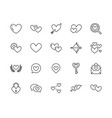 heart flat line icons set love dating site vector image