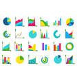 Isolated charts icons set vector image vector image