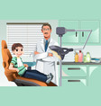 kid in dentist office vector image